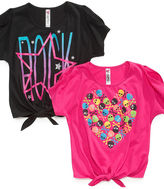 Beautees Kids Shirts, Girls Tie-Front Graphic Tees