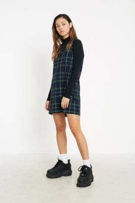 Urban Renewal Vintage Inspired By Vintage Check Pinafore Mini Dress - blue XS at Urban Outfitters