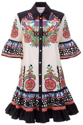 La DoubleJ Choux Floral Cotton Poplin Button Mini Dress