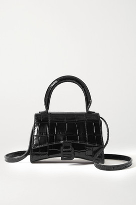 Balenciaga Hourglass Nano Croc-effect Leather Tote - Black