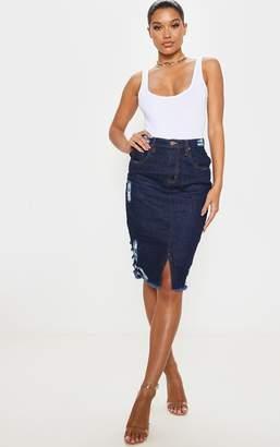 PrettyLittleThing Indigo Denim Midi Skirt