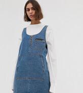 Collusion COLLUSION denim apron dress in mid wash blue