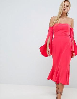 Forever New Bardot Midi Dress with Fishtail Hem-Red
