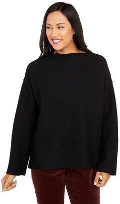 Eileen Fisher Lightweight Boiled Wool Funnel Neck Box Top (Black) Women's Clothing