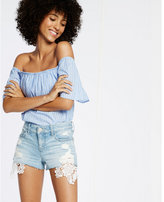 Express low rise lace performance stretch denim shorts