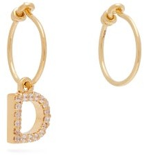 Theodora Warre - Mismatched D-charm Gold-plated Hoop Earrings - Gold