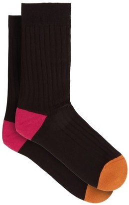 Pantherella Portobello Contrast Colour Socks - Mens - Black
