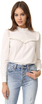 Rebecca Taylor Long Sleeve Pop Ruffle Blouse