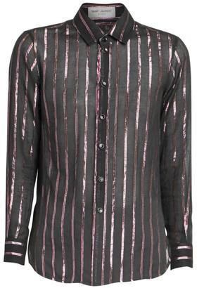 Saint Laurent Striped Sheer Long-Sleeve Shirt