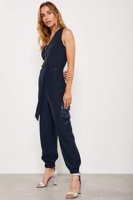 Mint Velvet Womens Contrast Patch Pocket Jumpsuit - Blue