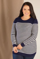 Yours Clothing Navy & Ecru Stripe Knitted Jumper