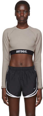 Nike Taupe JDI Rip Long Sleeve Crop T-Shirt