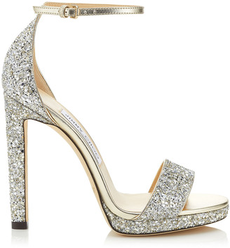 Jimmy Choo MISTY 120 Champagne Coarse Glitter Fabric Platform Sandals