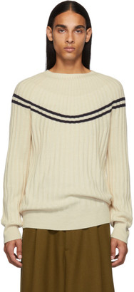 Dries Van Noten Off-White Ribbed Merino Sweater