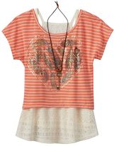 Beautees Girls 7-16 Striped Popover Top, Lace Tank & Necklace