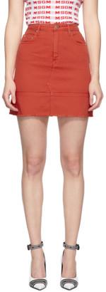 MSGM Red Denim Miniskirt