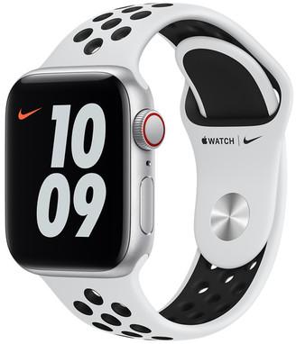 Apple Watch Nike SE GPS + Cellular, 40mm Silver Aluminum Case with Pure Platinum/Black Nike Sport Band - Regular