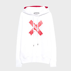 Roqa White Oversize Hoodie - XS - Red/White