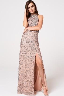 Little Mistress Nicky Mink Sequin Maxi Dress