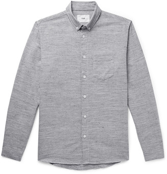 Folk Button-Down Collar Melange Cotton And Linen-Blend Shirt