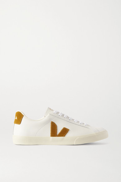 Veja Esplar Suede-trimmed Leather Sneakers - White
