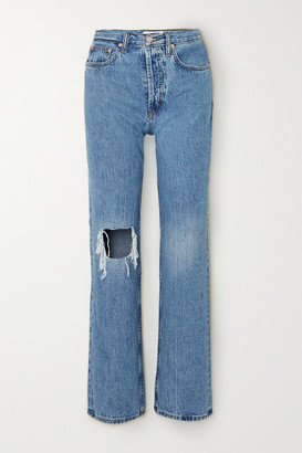 STILL HERE Childhood Distressed High-rise Straight-leg Jeans - Mid denim