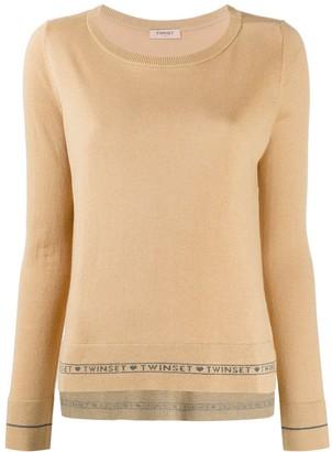Twin-Set Fine Knit Logo Stripe Sweater