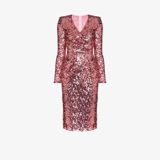 Dolce & Gabbana Womens Pink Sequin Wrap Dress