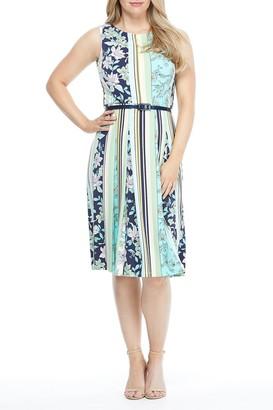 London Times Mixed Print Belted Midi Dress (Petite)