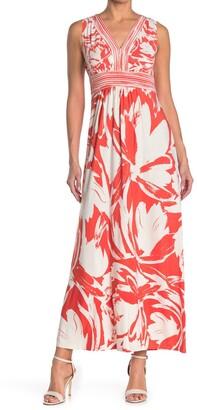 London Times Abstract Print Maxi Dress