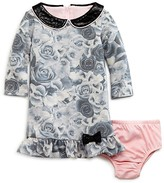 Us Angels Infant Girls' Faux Leather Trimmed French Terry Print Dress & Bloomer Set - Sizes 12-24 Months