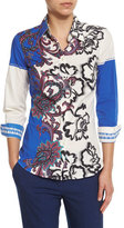 Etro Paisley-Print Long-Sleeve Blouse, Blue/White