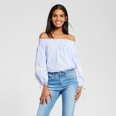 Who What Wear Women's Lace Mix Bardot Blue Stripe