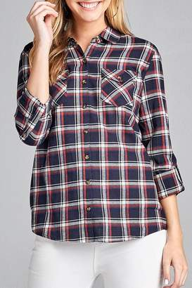 Active Basic Navy Plaid Flannel