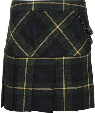 Boutique Moschino Chain-embellished Checked Crepe Mini Skirt