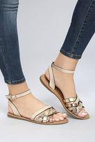 Bamboo Laylani Beige Snake Print Flat Sandals