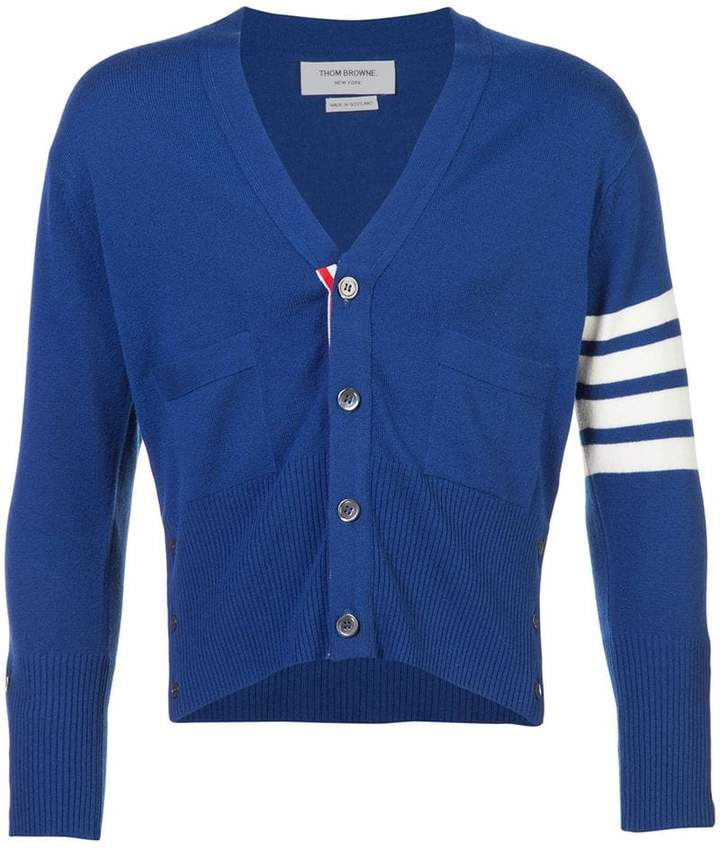 Thom Browne Short V-Neck Cardigan With 4-Bar Stripe In Blue Cashmere