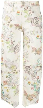 Lanvin Botanical print cropped jeans