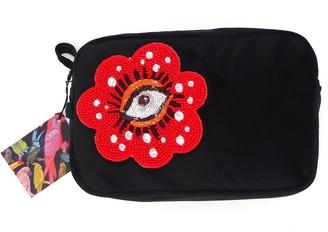 Laines London Black Velvet Bag With Beaded Eye Brooch