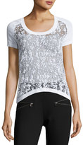 philosophy Burnout Scoop-Neck High-Low Tee, White Star