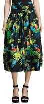 Marc Jacobs Belted Parrot-Print A-Line Midi Skirt, Black/Multi