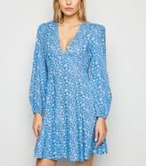 New Look Daisy Print Puff Sleeve Mini Dress