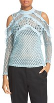 Self-Portrait Women's Purl Knit Lace Cold Shoulder Blouse
