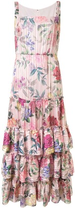 Marchesa Floral Print Ruffled Dress