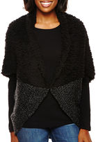Asstd National Brand Faux-Fur Sherpa Marled Knit Cocoon Wrap