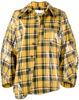 Ganni Oversized Check Pattern Jacket