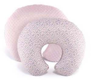 The Peanut Shell Ps Pink Leopard and Pink Minky Dot Nursing Pillow Cover, Set of 2