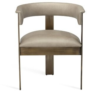 Interlude Darcy Leather Upholstered Metal Arm Chair Upholstery Color: Fawn Taupe, Frame Color: Antique Bronze