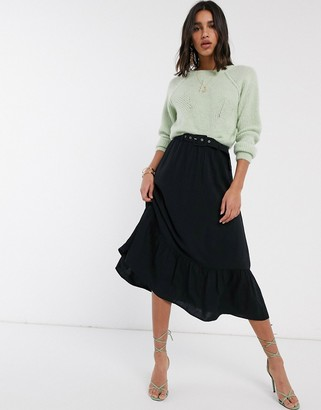 Vila midi skirt with belt in black