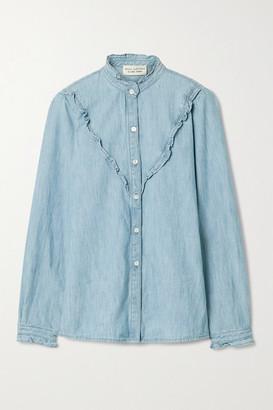 Nili Lotan Marcela Ruffled Cotton-chambray Shirt - Blue